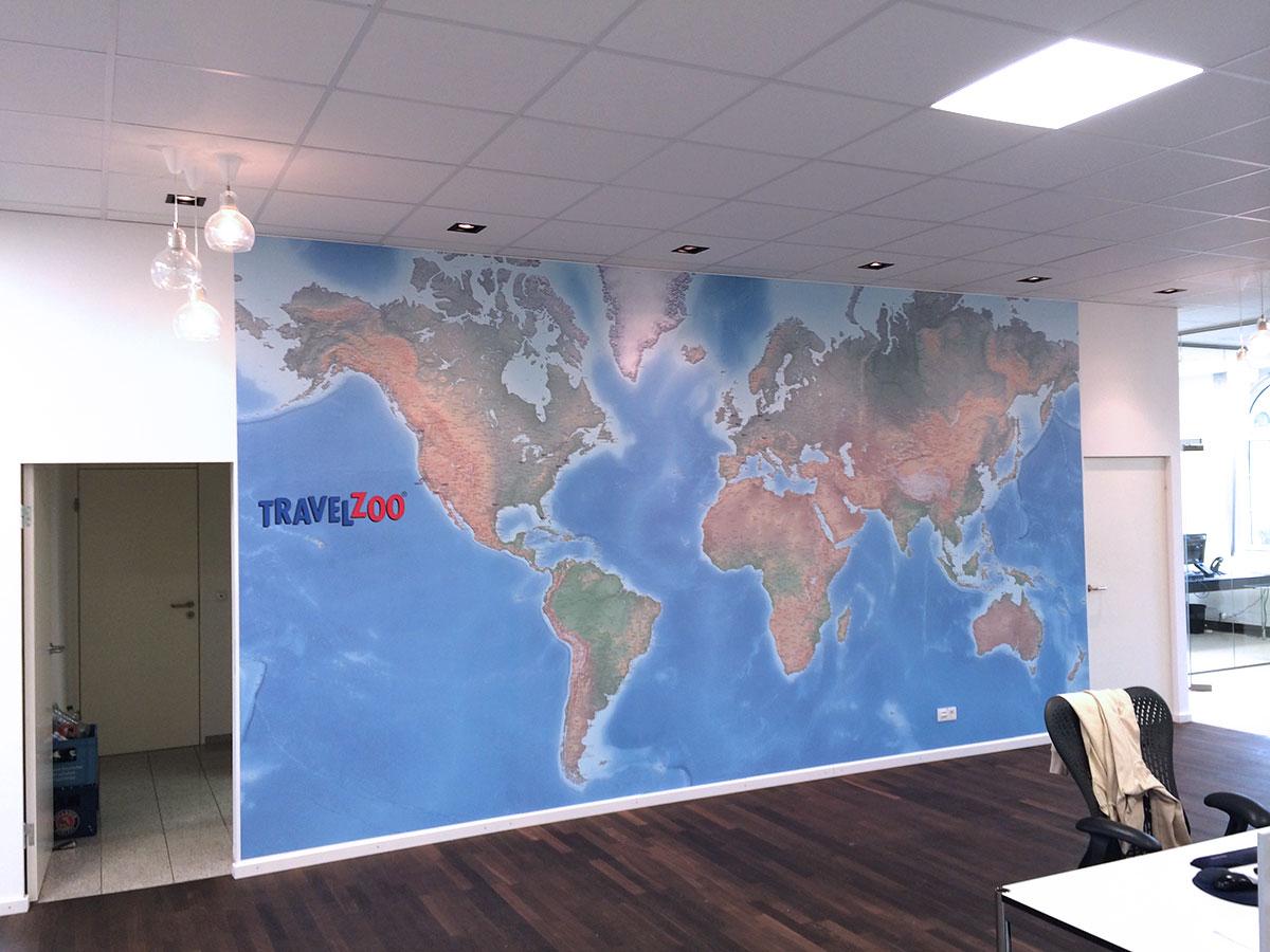 Wandtapete Weltkarte mit Standorten
